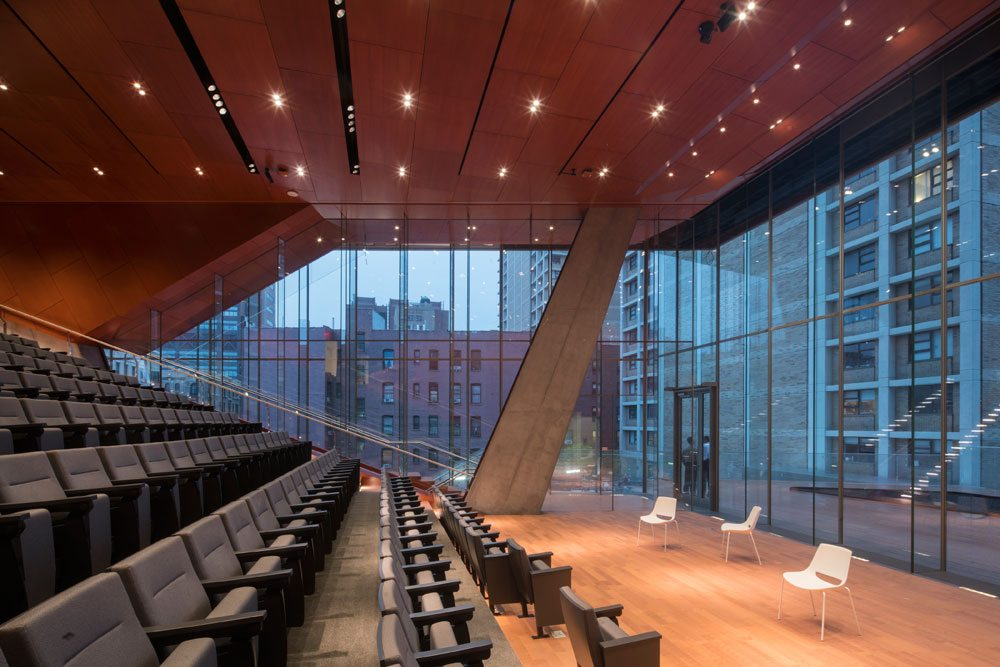 The Roy and Diana Vagelos Education Center at Columbia University. Interior view of the Clyde and Helen Wu Auditorium (under construction, June 2016). Photo by Nic Lehoux, courtesy of Diller Scofidio +Renfro.