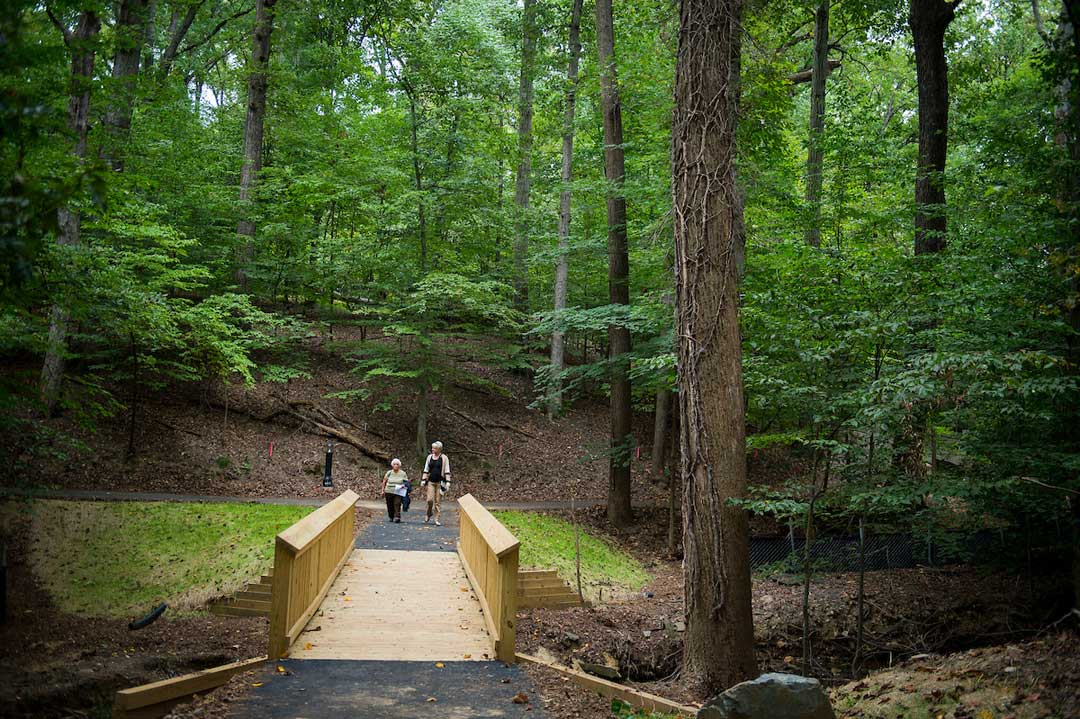 – A timber pedestrian bridge crossing Stoney Creek serves as the portal into The Green Road. Photo: Lisa Helfert