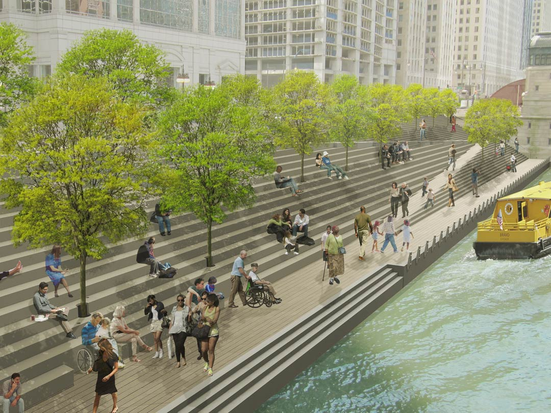 The River Theater: A sculptural staircase linking Upper Wacker and the Riverwalk offers pedestrian connectivity to the water's edge and seating, while trees provide greenery and shade. Images courtesy of Sasaki