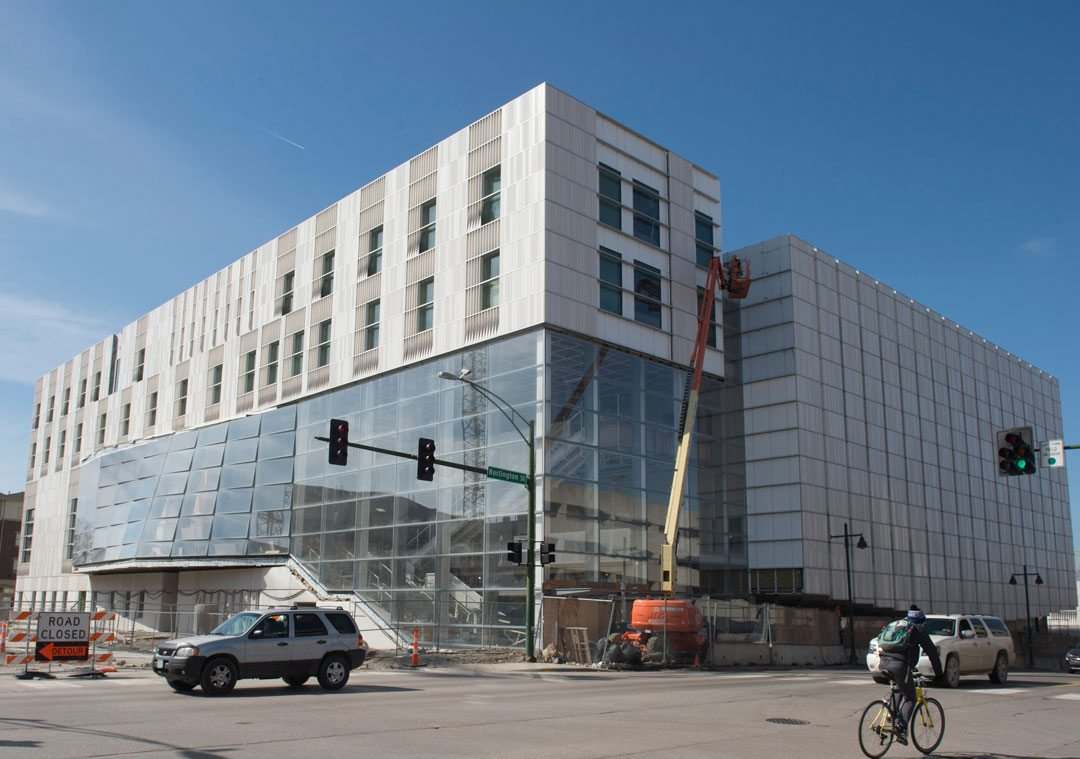 Designed for resiliency, sustainability and the highest acoustic performance, the $152 million project is targeting LEED® for New Construction Gold certification. Wausau Window and Wall Systems worked closely with glazing contractor Architectural Wall Systems (AWS) to achieve the design intent set by LMN Architects and Neumann Monson Architects. Credit: University of Iowa