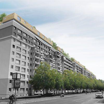 """Dachkiez, Village on the Roof"" for Berlin by Sigurd Larsen Design and Architecture (Germany): Simon Jendreizig, Vanessa Panagiotopoulou, Marlene Kjeldsen, Guillermo Fernandez Villar and Pedro Campos Altozano."