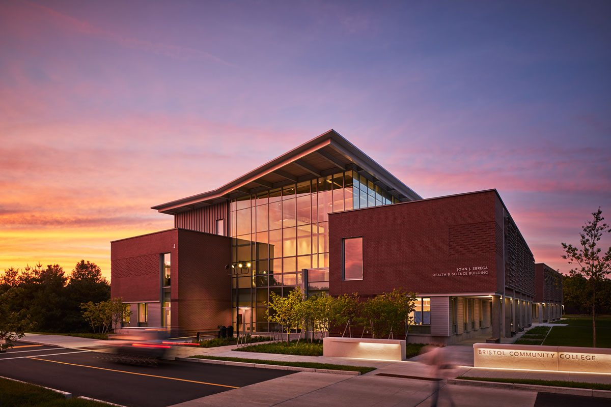 Bristol Community College's John J. Sbrega Health and Science Building. Image: © Edward Caruso Photography. Courtesy of Sasaki