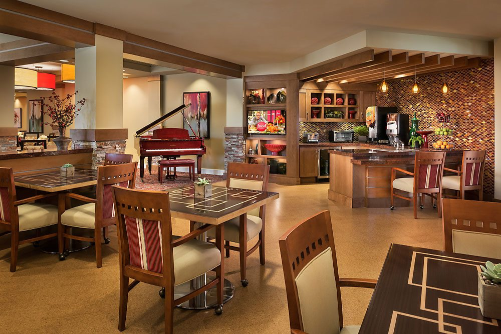 Incorporating small, casual spaces that feel more like a cafe or bistro give senior living residents more options when it comes to dining. Photo credit: Mark Boisclair Photography