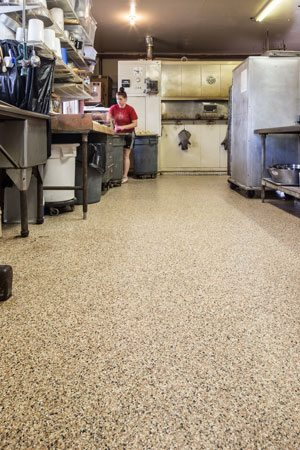 The end result is a seamless floor with a visually appealing finish that can handle the daily demands of a commercial bakery. Courtesy of Covestro LLC