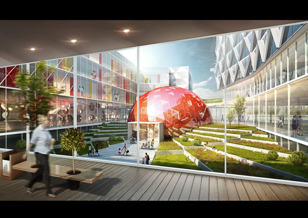 Yantai Women's & Children's Hospital Competition. A design competition recently won by Little was sponsored by the Fushan District Planning Department in China. This design allows natural daylight to fill the space and provides a courtyard as an area of retreat. Courtesy of Little.