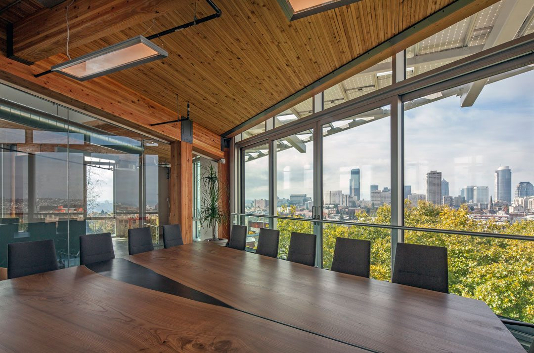 The Bullitt Center, regarded by many as the world's greenest commercial office building, was constructed with Solarban 60 solar control, low-e glass and Starphire ultra-clear glass by Vitro Glass. Photos © 2014 Tom Kessler. All Rights Reserved.