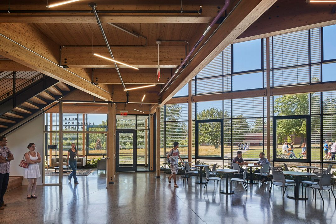 Kern's materials were chosen to support the well-bring of occupants, manufacturers, and installers, following the LBC Red LIST. R.W. Kern Center, Amherst, Mass. Photo: Robert Benson Photography