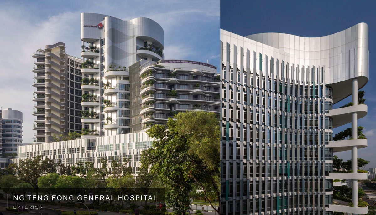 Ng Teng Fong General Hospital is physically integrated into its community through a series of bridges at the second level, connected to each other by public concourses inside of the hospital buildings. Credit: HOK