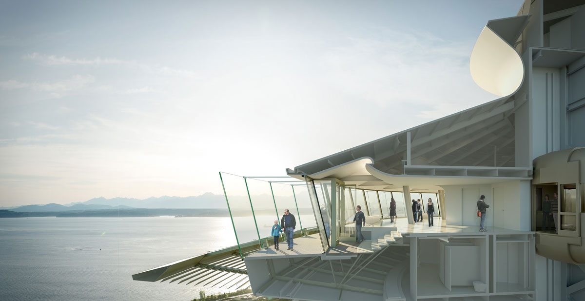 This rendering shows a cross-section of the Tophouse of the Space Needle to highlight some of the renovations on the Observation Deck including the new exterior glass barriers and additional doors and stairways with increased accessibility from the interior and exterior areas. Rendering: Olson Kundig