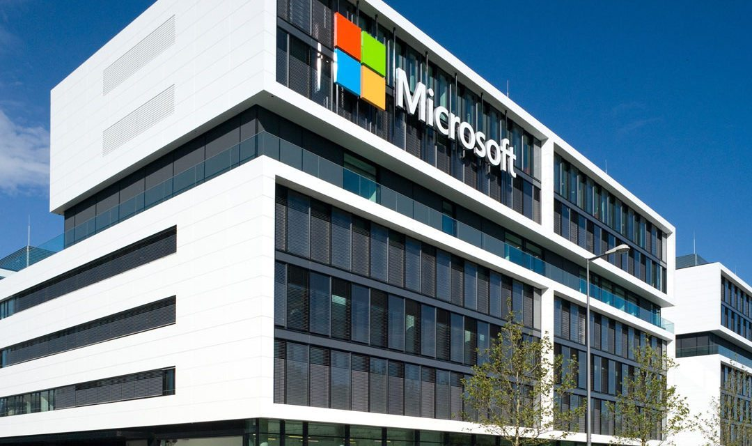 the new microsoft germany hq faade features prominent white facade made of corian prism