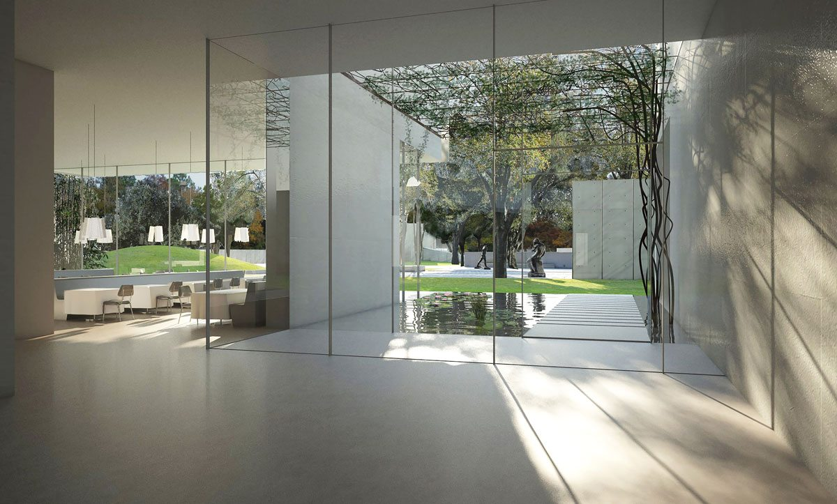 Kinder Building, Lobby and Courtyard. Courtesy of Steven Holl Architects