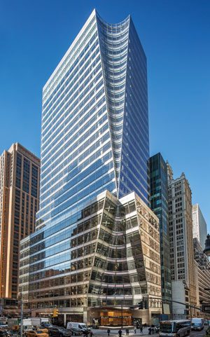 The conical incisions carved out of 7 Bryant Park are complemented by stainless steel spandrels and highly transparent Vitro Architectural Glass. Photo courtesy of Tom Kessler