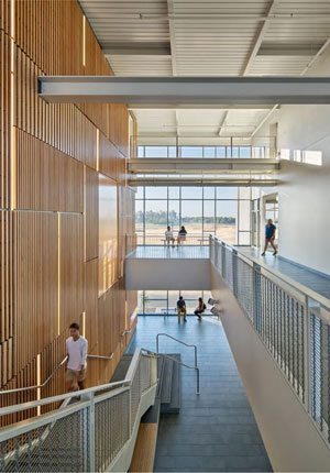 UC Merced Classroom and Academic Office Building – natural light permeates the interior of the LEED Platinum building.