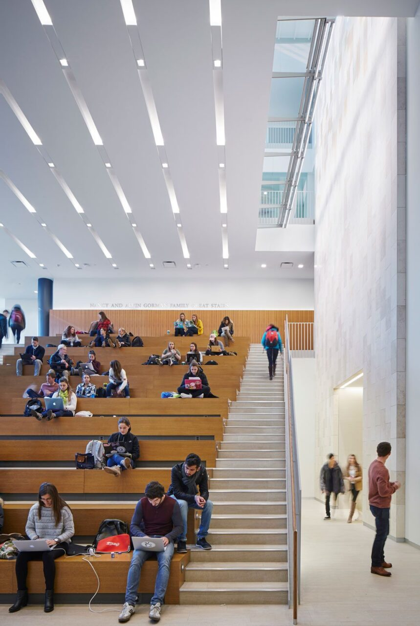 The ground floor features a large social stair which acts both as a communal gathering space and presentation forum.