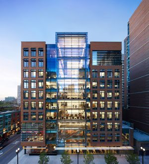 The John and Kathy Schreiber Center at the Quinlan School of Business Administration at Loyola University Chicago is a ten story, vertical campus.