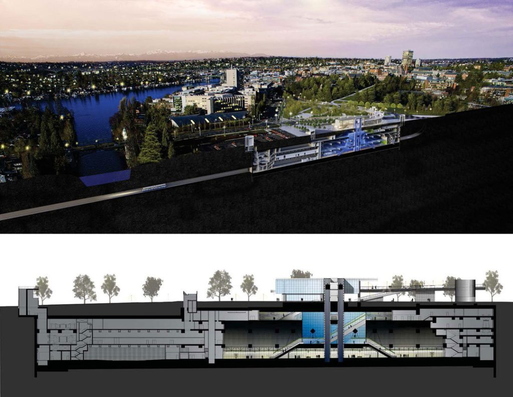The project includes a train platform 100 feet underground, accessed from a 2-level glass entrance structure and a 55-foot tall vertical circulation chamber featuring Subterraneum. An emergency smoke ventilation system, track crossover area, and maintenance spaces—unseen by the public—are nearly as large by volume as the circulation chambers. Sound Transit's University of Washington Station, Seattle, designed by LMN Architects. Photo credit: Kevin Scott