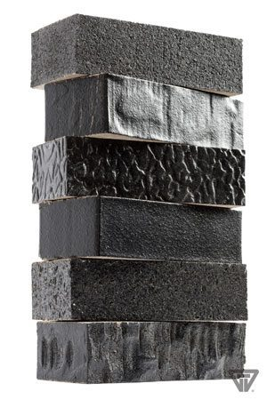 With six total surface texture options, the product offering from Glen-Gery's Hanley Plant is one of the most diverse in the industry, offering the utmost design flexibility. A different texture has been applied to the same product: Black Pearl. Textures from top to bottom are: wirecut, stone rolled, warble, smooth, rough and craftsman.