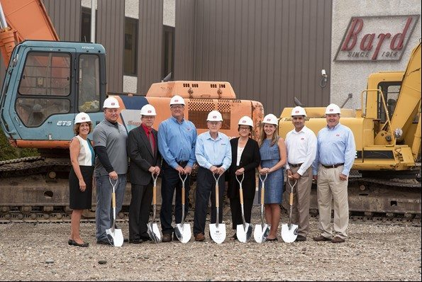 Pictured at the groundbreaking for the James R. Bard Center for HVAC Innovation & Design are: (from left) Pam Bard Steel (Bard Chairman of Managing Partners), Jeremy Aschemeier (The Spieker Company), Kent Purk (Beilharz Architects), Terry McBride (Bard Director of Advanced Manufacturing), Jim Bard, Joan Bard, Megan Steel (representing the 5th generation of the Bard family), Chuck Bonam (Bard Vice President, Engineering), and Bill Steel (Bard President and CEO).