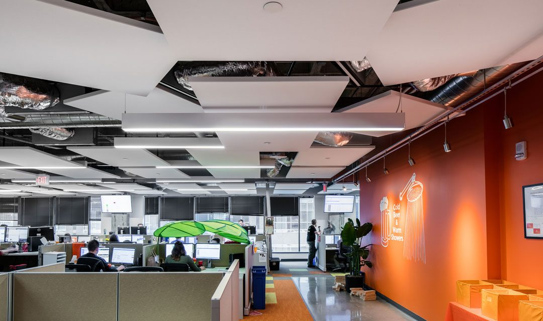 Rockfons ceiling systems enhance acoustics and aesthetics for solar spectrums office design
