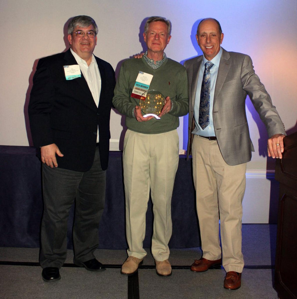 Scott Moffatt, (center), PPG market manager, architectural coil and extrusion coatings, received the Patrick R. Bush Service Award from the Metal Construction Association (MCA). The award, which was presented during the organization's 2018 Winter Meeting in San Diego, California, recognizes one individual each year who has made significant volunteer contributions to the MCA. Also pictured are Ed Karper, (left), MCA chairman, and Dale Nelson, (right), past MCA chairman.