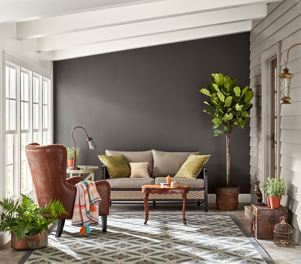 """Cool, dark and strong, this deep gray-brown is nearly black but radiates warmth when light is generous."" - Sue Kim, Valspar Sr. Color Designer"