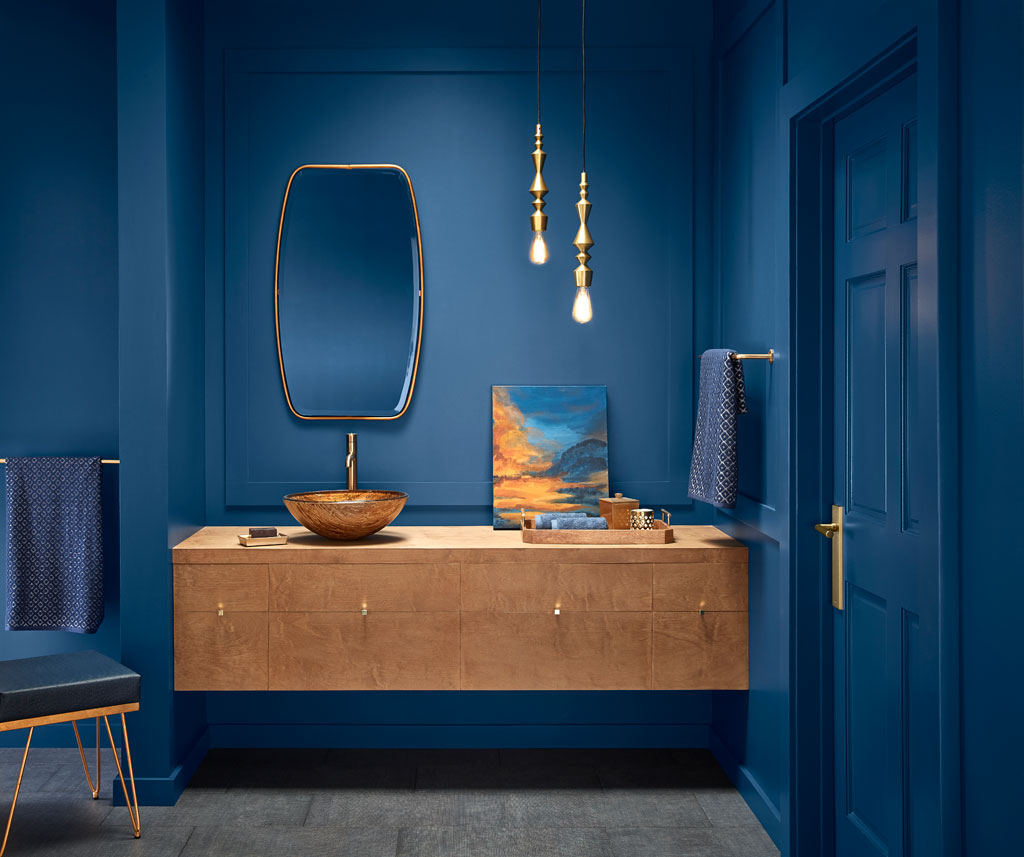 """Edging toward midnight, this dark blue is comforting, plush and a little mysterious."" - Sue Kim, Valspar Sr. Color Designer"