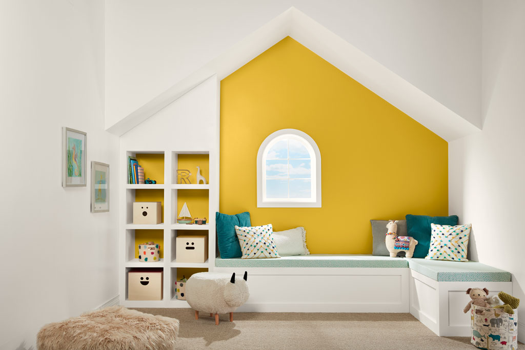 """Nature with a healthy boost, this warm yellow has the sunny disposition of a marigold."" - Sue Kim, Valspar Sr. Color Designer"