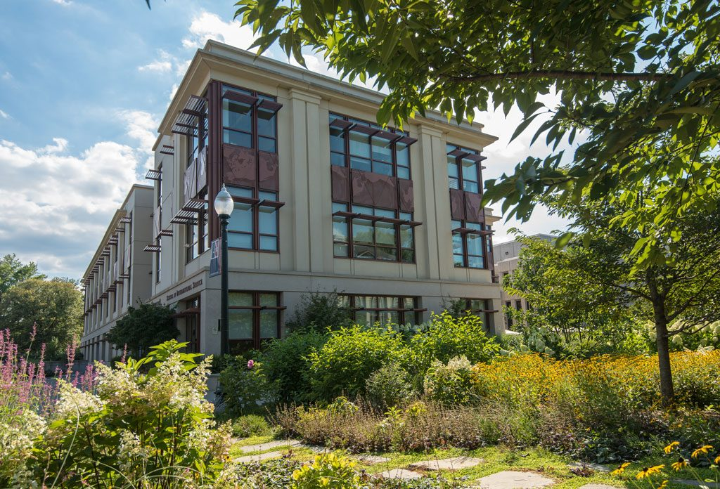 The School of International Service was the first campus building to earn LEED, certified at a Gold level in 2010. Courtesy American University, by Jeff Watts