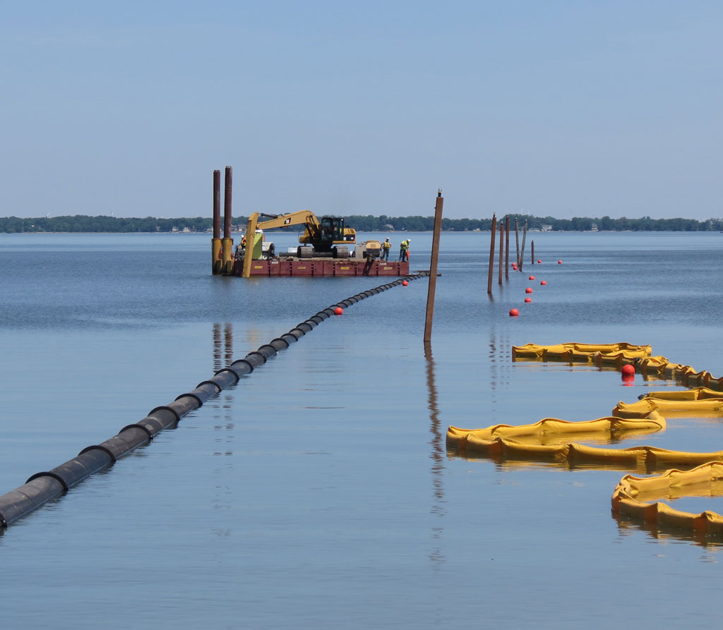 Installation of intake line at Spirit Lake Raw Water Improvements project.