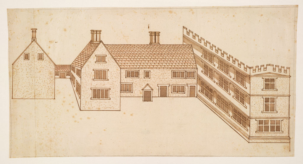 John Smythson, Design for a house with a castellated wing perspective view, 1600. Courtesy of © RIBA Collections