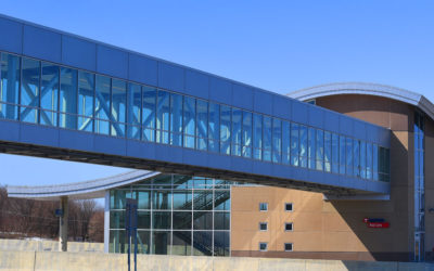 Minnesota's Cedar Grove Transit Center clad in Protean aluminum plate system, finished by Linetec