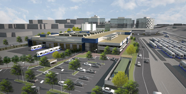Sound Transit recently broke ground on its new Operations and Maintenance Facility (OMF) East, which will service and house light rail vehicles for the growing fleet in the Puget Sound area. Courtesy of Stantec