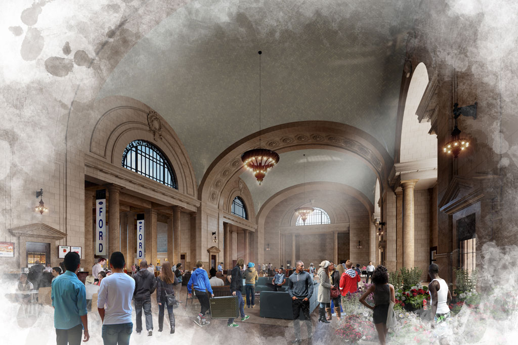 Ford envisions the restoration of the main lobby in Michigan Central Station as a community gathering spot including a variety of local retail and restaurants offerings. Conceptual rendering shown.