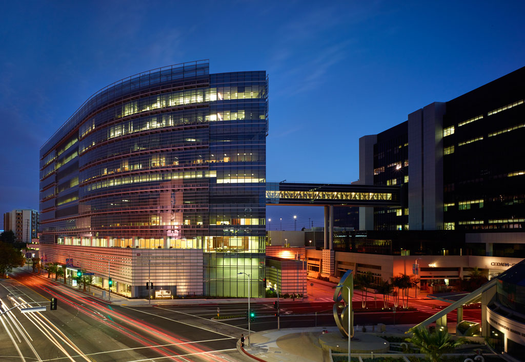 Cedars Sinai Advanced Health Sciences Pavilion, Los Angeles. The Advanced Health Sciences Pavilion (AHSP) is one of the first translational research facilities of its kind allowing outpatient care and research facilities to exist contiguously, enabling a new level of collaboration between physicians and researchers. Credit: John Edward Linden Photography