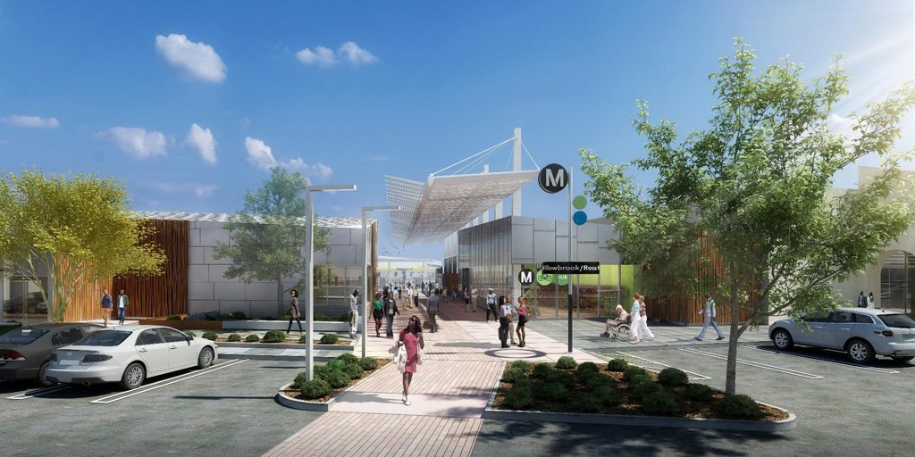 Willowbrook/Rosa Parks Station for LA Metro. Rendering courtesy of Stantec
