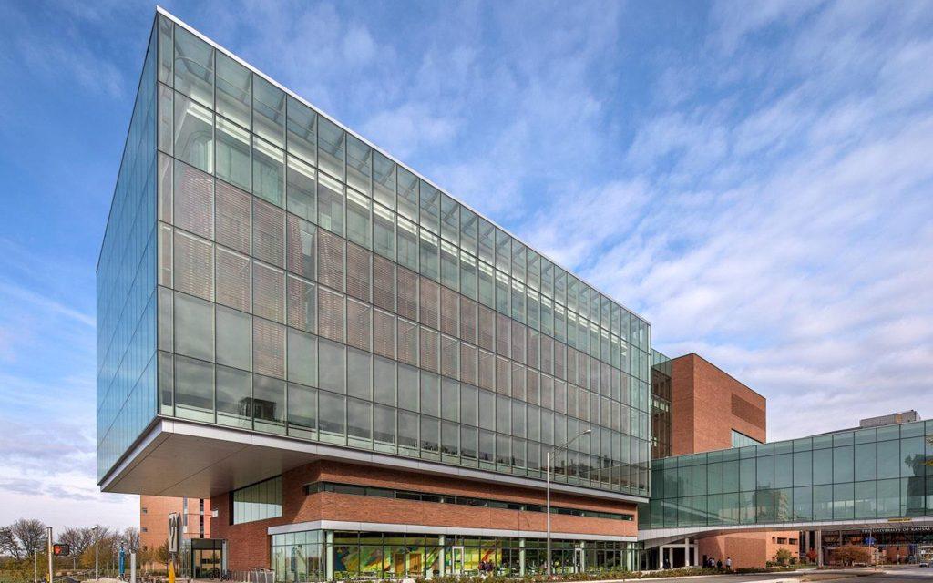 Health education building at University of Kansas glazed with Solarban 70XL, Solarban 72 Starphire glasses by Vitro Glass