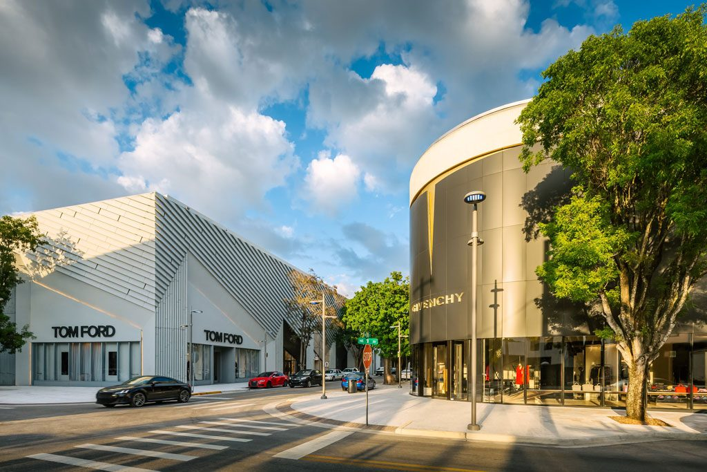 2018 World Architecture Festival Awards Shortlist for Shopping - Completed Buildings: Miami Design District by SB Architects. The project has achieved LEED for Neighborhood Development designation, and Palm Court has been certified LEED Gold for Core + Shell by the US Green Building Council. Palm Court utilizes an infill site, capitalizing upon development density, community connection and access to public transportation. The team managed construction waste, used recycled, locally-sourced and sustainable materials, optimized energy performance, and utilized systems to reduce water use. Nearly every roof in the development is planted as a green roof, providing not only thermal cooling but a stunning rooftop landscape design mimicking past hurricane patterns over Miami. The project provides 50% more open space than required by the zoning codes.