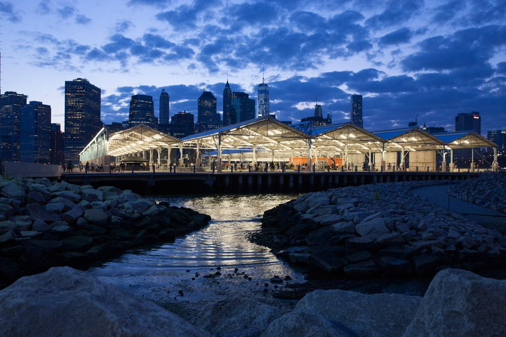 ASLA 2018 Award of Excellence, General Design Category. Brooklyn Bridge Park: A Twenty Year Transformation by Michael Van Valkenburgh Associates (Brooklyn, New York) for Brooklyn Bridge Park. Credit: Scott Shigley