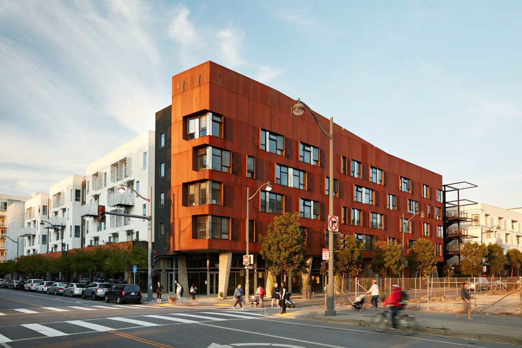"The largest new 100% affordable development to open in San Francisco in a decade, this building establishes a gateway to a new neighborhood. Bringing almost 200 family homes and retail space close to downtown, transit, a medical campus, and a future park, the affordable building's rich details—custom weathering steel, textured concrete ""dancing columns""and a ""napkin ring"" stair tower set to hold giant bamboo—set a welcoming tone. Five88, San Francisco 