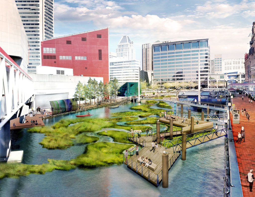 ASLA 2018 Honor Award, Research Category. Urban Aquatic Health: Integrating New Technologies and Resiliency into Floating Wetlands, Baltimore by Ayers, Saint, and Gross (Baltimore) for the National Aquarium. Credit: Design Team