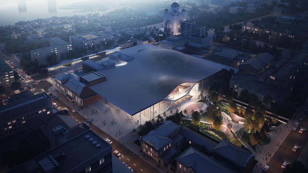Sverdlovsk Philharmonic Concert Hall aerial. Rendering by VA