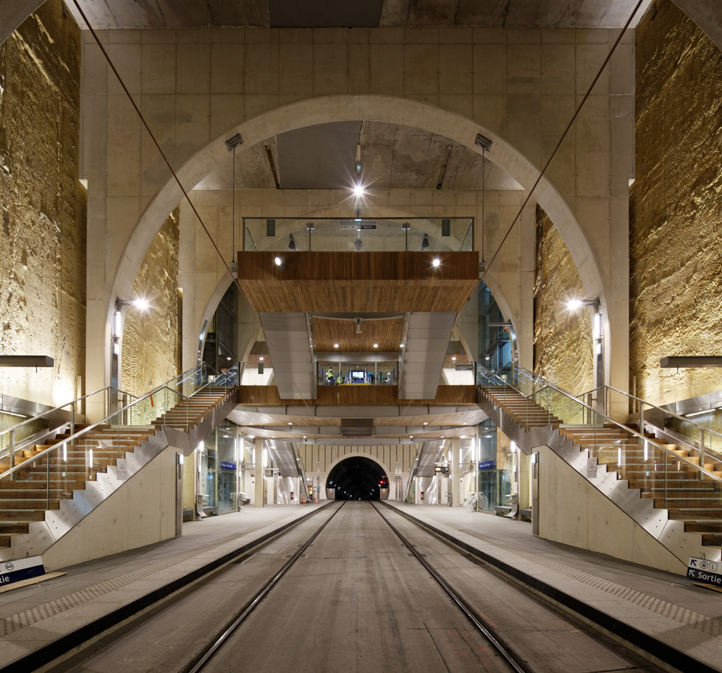 Viroflay Underground Train Station – Meudon, Hauts-de-Seine, France. Owner: Public Transportation for Paris Area; Architectural Firm: Atelier SCHALL; Engineering Firm: EGIS Group Branch Railway; General and Concrete Contractor: Eiffage Travaux Publics & Soletanche Bachy; and Concrete Supplier: CEMEX. Credit: American Concrete Institute