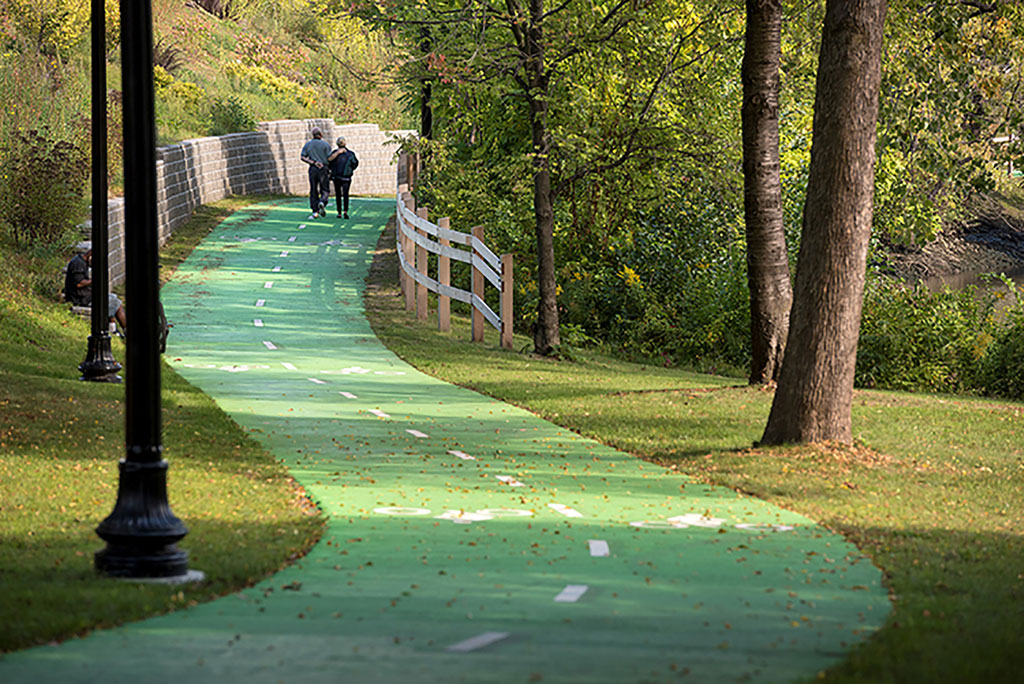 The Bicycle/Pedestrian Path at Corning Riverfront Park, Albany, NY.
