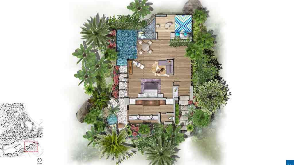 Guestroom floor plan. Courtesy of Half Moon Bay Antigua
