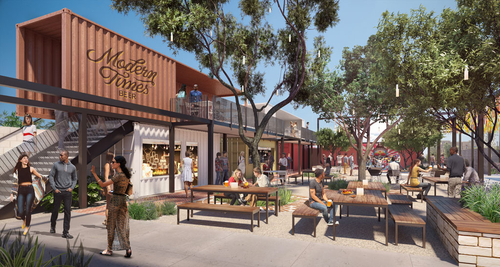 "Leisuretown, a LAB Holding partnership with Modern Times Beer, will be ""the community's backyard"" using containers and restored buildings. Rendering by Studio One Eleven."