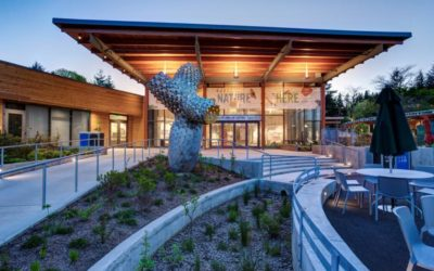 Solarban 70XL glass with Walker Textures acid-etching adorns Oregon Zoo Education Center