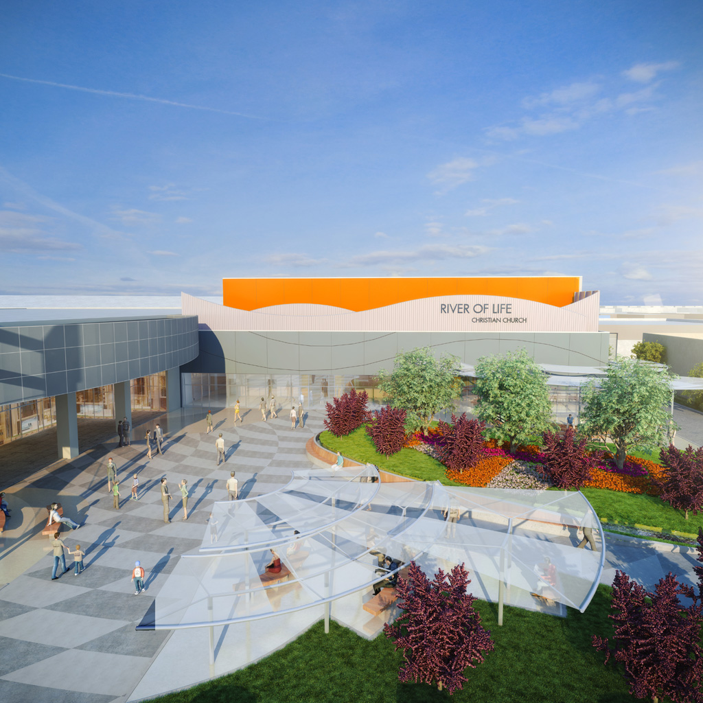 """""""River Plaza"""" at the River of Life Christian Church. Courtesy of Stantec"""