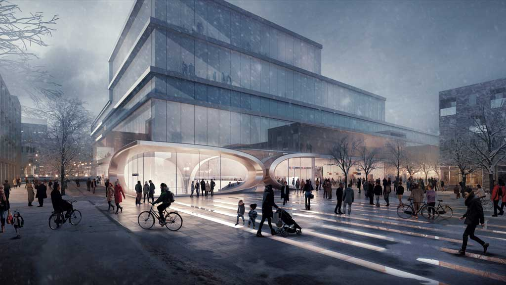 Fornebu Senter Station West Entrance. Credit: ©Render by VA