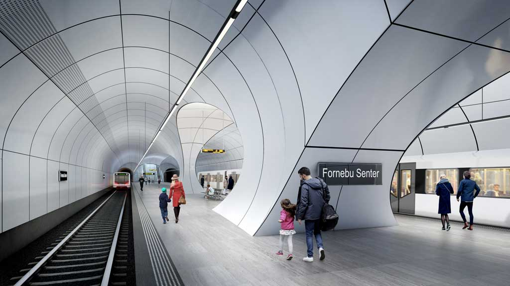 Fornebu Senter Station Platforms. Credit: ©Render by VA