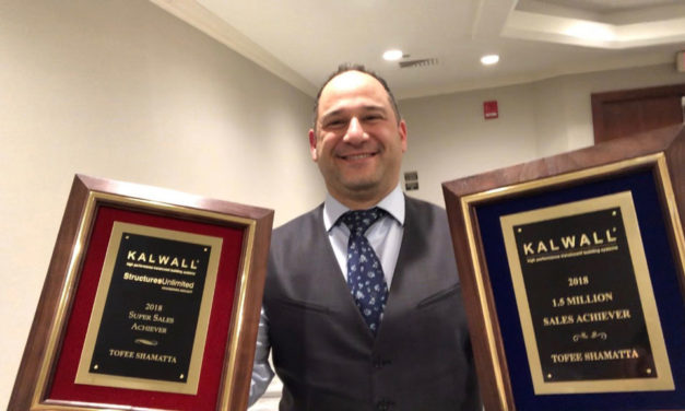 Structures Unlimited® honors Tofee Shamatta as top salesman